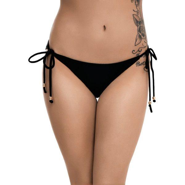 Hot Topic Black & Gold Skull Swim Bottoms ($10) ❤ liked on Polyvore featuring swimwear, bikinis, bikini bottoms, cut out bikini, gold bikini, skull bikini top, side tie bikini bottom and swim tops