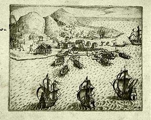 """The attack of the Dutch and the Hitu on the Portuguese at Ambon in 1605. "" Isaac Commelin, 1645."