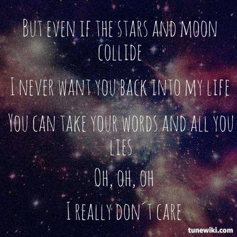 "-- #LyricArt for ""Really Don't Care (feat. Cher Lloyd)"" by Demi Lovato"