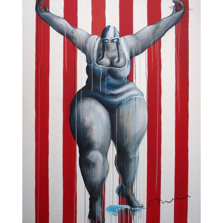"""Swimmer Red n°9 -  Tableau de C. Brenner . Thème """"Les swimmers""""  Acrylique sur toile  Format: 162x130 cm"""