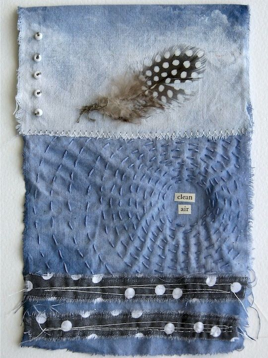 mixture of fabric, beads, feather, stitching and paper - sea.sky.stone.: Prayer Flag