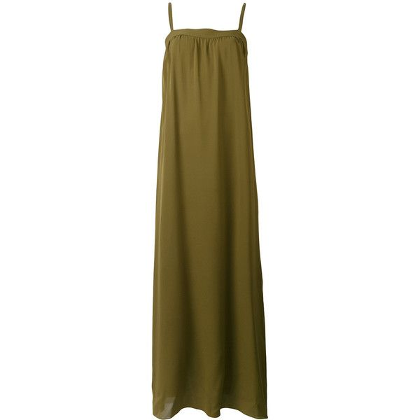 Vince bandeau maxi dress (19 305 UAH) ❤ liked on Polyvore featuring dresses, green, green dress, maxi length dresses, vince dresses, brown maxi dress and green maxi dress