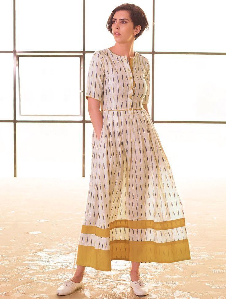 Buy Cream vy Navy Box Pleated Handloom Ikat Cotton Dress Online at Jaypore.com