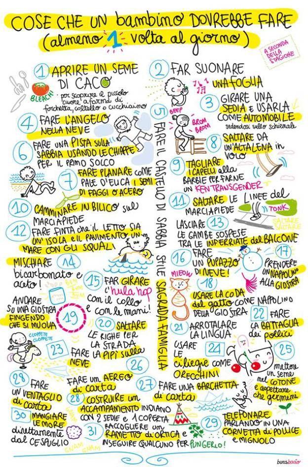 40 cose che un bambino dovrebbe fare almeno una volta al giorno (a seconda della stagione)