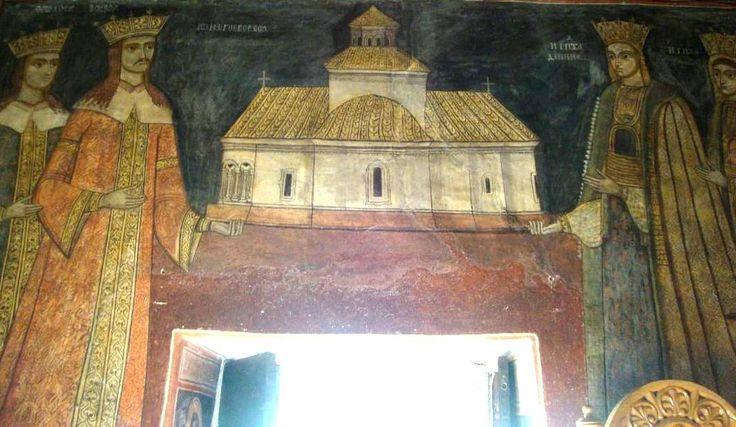 Tablou votiv cu Neagoe Basarab (1512-1521), voievod al Valahiei împreună cu familia sa. Schitul Ostrov, jud. Vâlcea