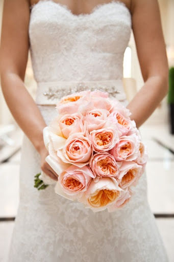 pink wedding bouquet of roses
