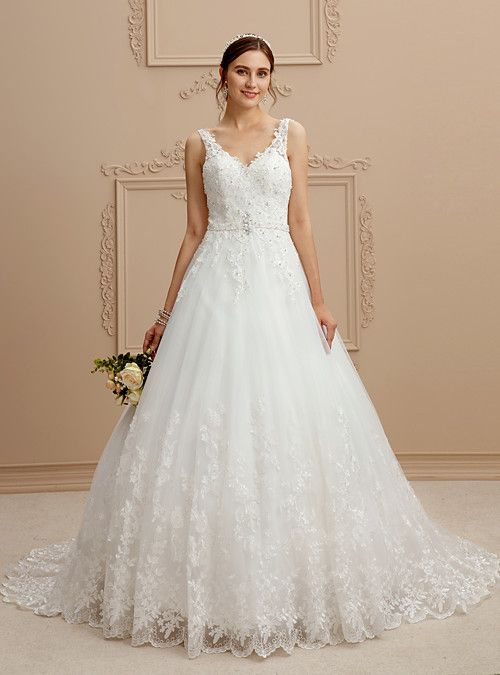 92033e18b0b Ball Gown V Neck Court Train Tulle Lace Over Tulle Beaded Lace Wedding Dress  with Beading Appliques by LAN TING BRIDE® - USD  249.99 ! HOT Product!