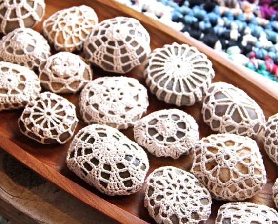 Crocheted pebble covers