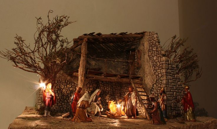 PRESEPE artigianale in gesso, Natività natale con statuine pupi pastori gesù   eBay