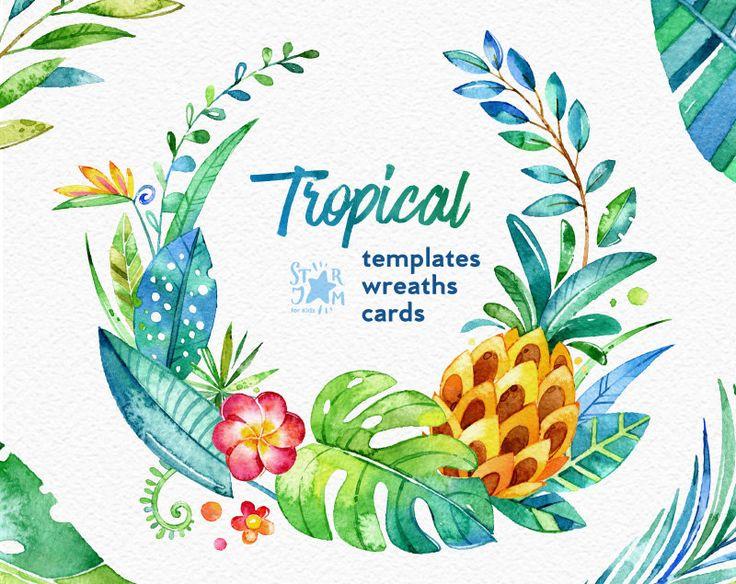Tropical. Corone di fiori carte modello. Clipart di