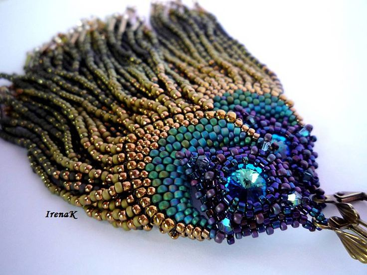 Peacock Feathers Earring - Long fringed earrings.  Could make shorter.  By Irena K.