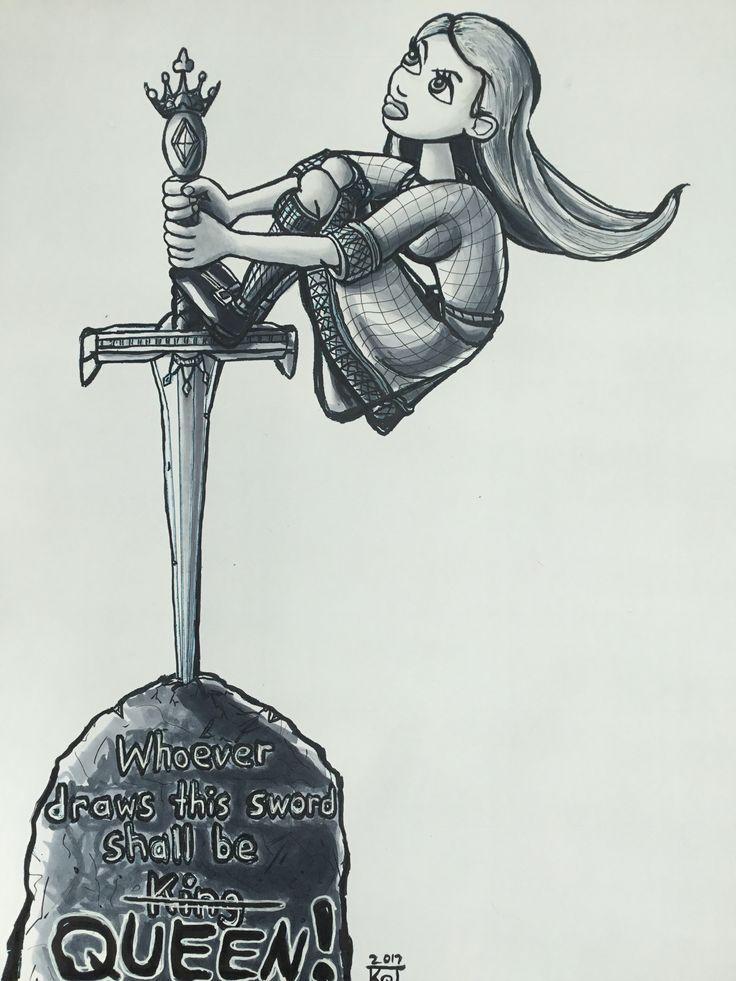 2017 Inktober illustration day 6-sword.