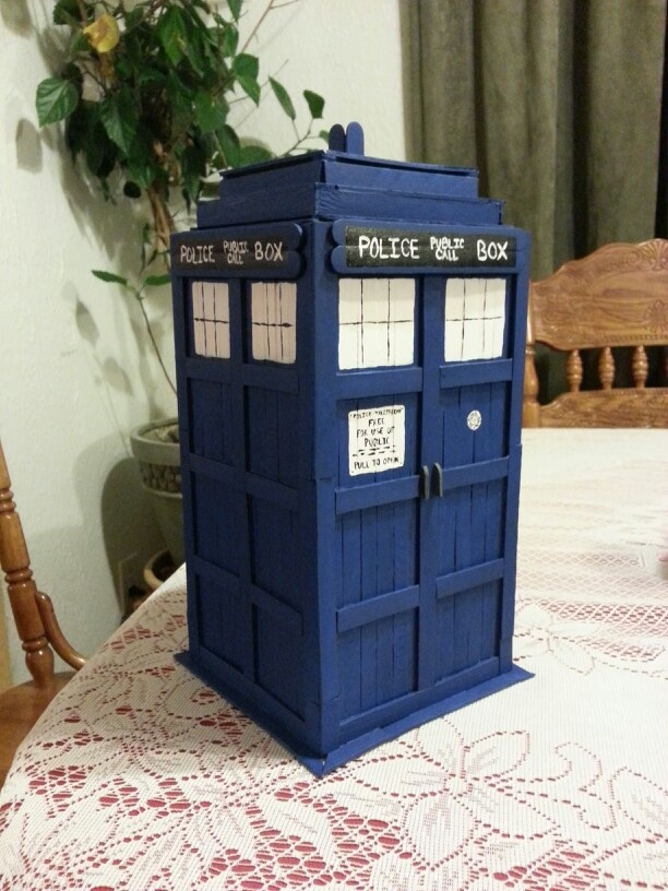 TARDIS made from popsicle sticks