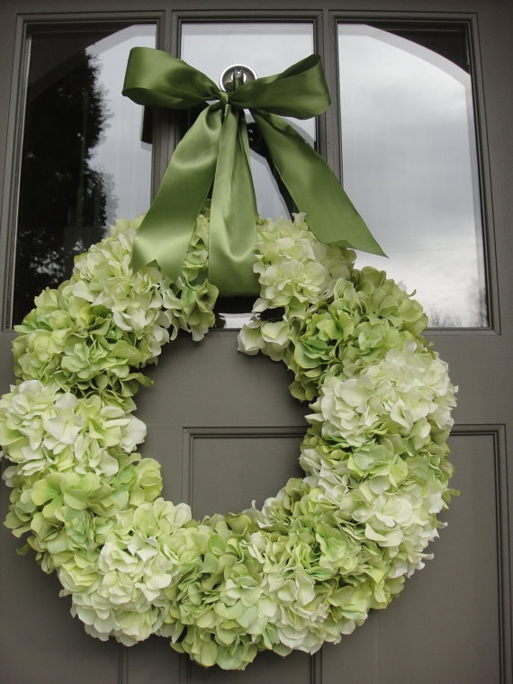 Hydrangea Wreath  St Patricks Wreath   Green by donnahubbard