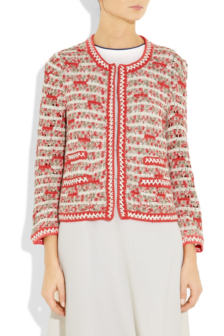 Oscar de la Renta's papaya, taupe and off-white crocheted silk jacket is a new-season take on the designer's coveted Upper East Side chic