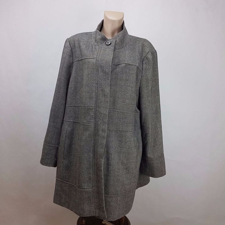 Addition Elle plus size winter coat woman size 3x Grey polyester/wool  #additionElle #BasicCoat #Casual