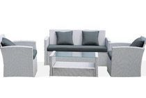 Patio Flare Diana Wicker Chat Seating Set - Grey with Dark Grey Cushions