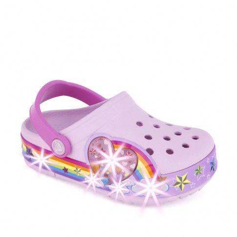 Sandale plaja fete CrocsLights Rainbow Ballerina - Crocs