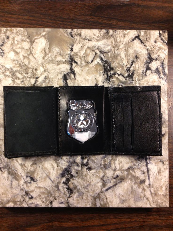(Customer Designed) Police Wallet with (5) card pockets, (1) vertical pocket, (1) cash pocket, I.D. Holder with badge protector. $80.00 Shipping and handling not included