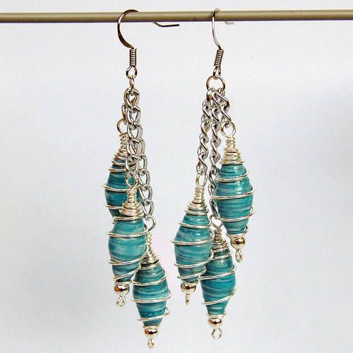 Paper Bead and Wire Earrings by Donella