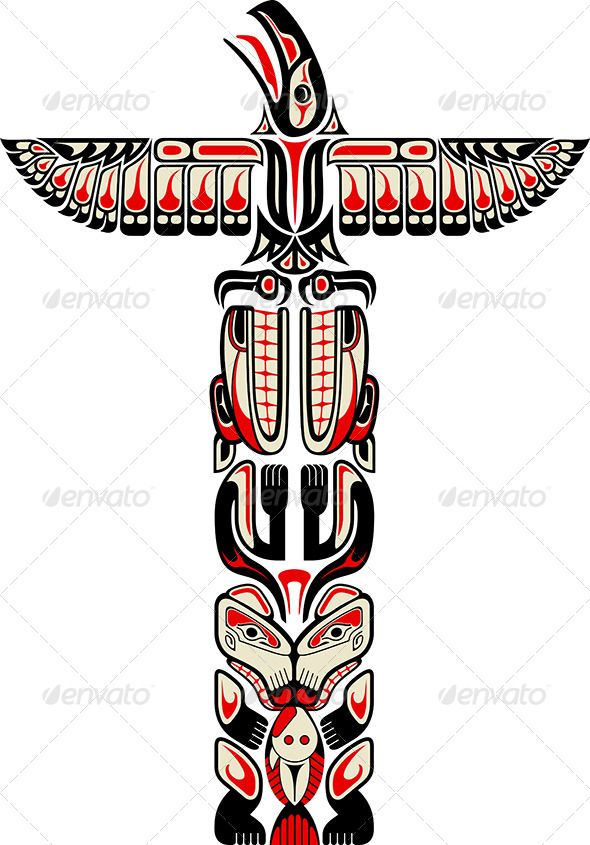 Haida Style Totem Pattern — JPG Image #inuit #bear • Available here → https://graphicriver.net/item/haida-style-totem-pattern/5129398?ref=pxcr
