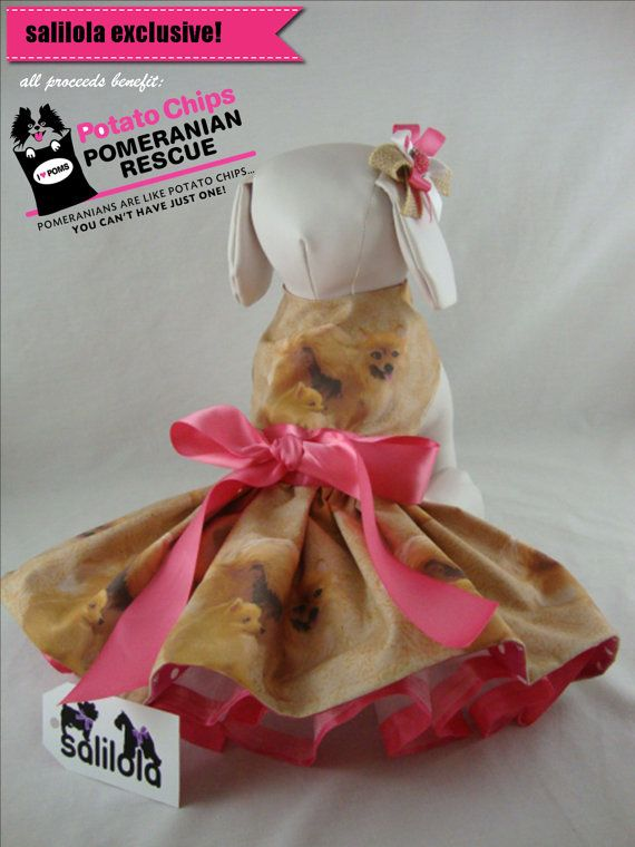 Pommie Mommie - Reversible Pomeranian Rescue Dog Dress. This adorable pomeranian print dog dress is only half the surprise.  This dress is reversible!  Two dresses in one!  Check the listing photos to see the totally adorable reverse side!!