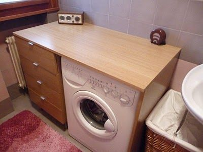 Diy cabinet and washing machine countertop from ikea for Kitchen cabinet washing machine