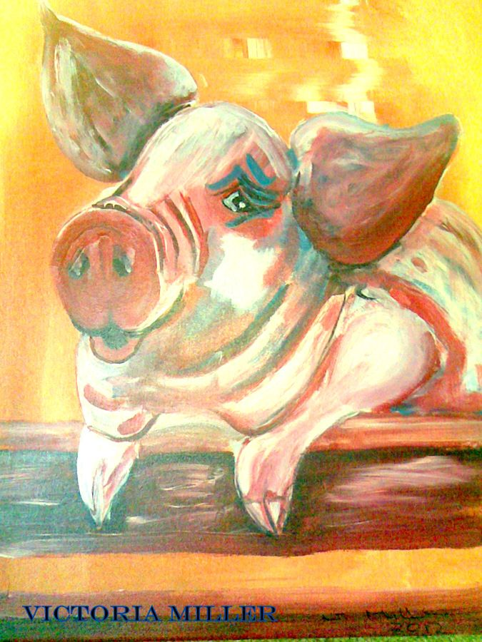 Porky is a pig l reared from a day old. He was just like a dog. Art by Victoria Miller