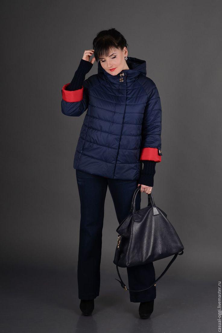 Купить Женская куртка, рукав три четверти. Ультрамодно. - тёмно-синий, трикотаж, хит сезона
