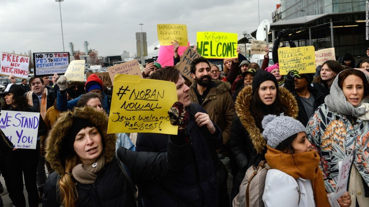 Protesters gathered in cities and airports across the United States on Saturday to complain about President Donald Trump's immigration policies. More protests are scheduled for Sunday.