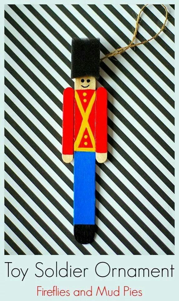 Popsicle stick soldier ornament