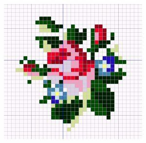 Open House Miniatures - Rose and Forget-me-not miniature needlework chart