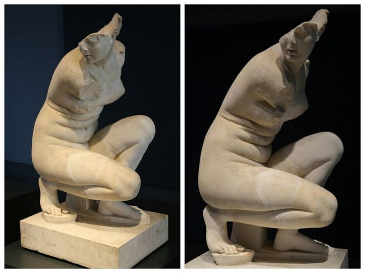 A Roman marble statue of Aphrodite Crouching at Her Bath. Hadrianic period, 117-138 AD. The magic of this piece may just be how the goddess of love, beauty, and pleasure is depicted. She crouches as she bathes, her fat on her stomach only adding to the sensual nature of the sculpture. Though beauty standards will naturally change over thousands of years, this piece is an interesting look into how the most beautiful woman in the world was thought to have looked in the second century.