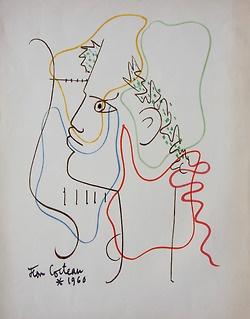 Jean Cocteau - Profil d'un jeune homme (Orphée), 1960.