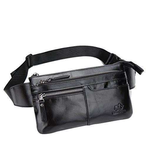e4bdc7a740ac BISON DENIM Classic Leather Waist Pack Fanny Pack Shoulder Backpack Sport  Pouch Travel Hiking Bum Bag Handbag Black.