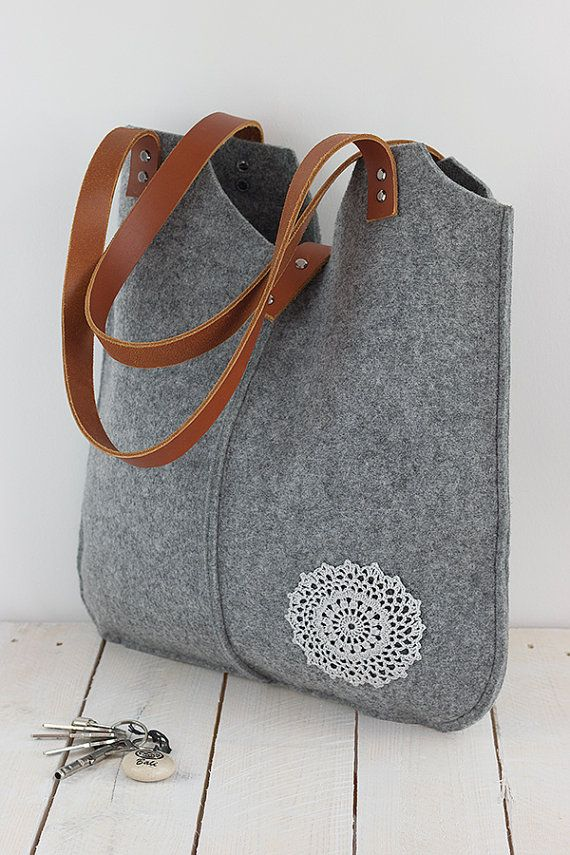 Grey felt tote bag, with crochet applique,gray, big size, for shopping, spring, summer bag, genuine leather handles, tote bag, tote felt