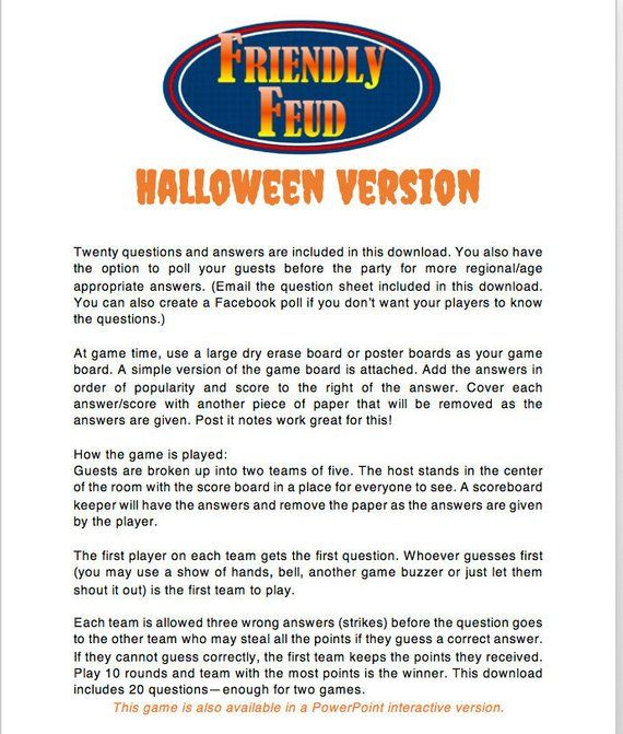 Halloween Friendly Feud 20 Questions and Answers - Printable