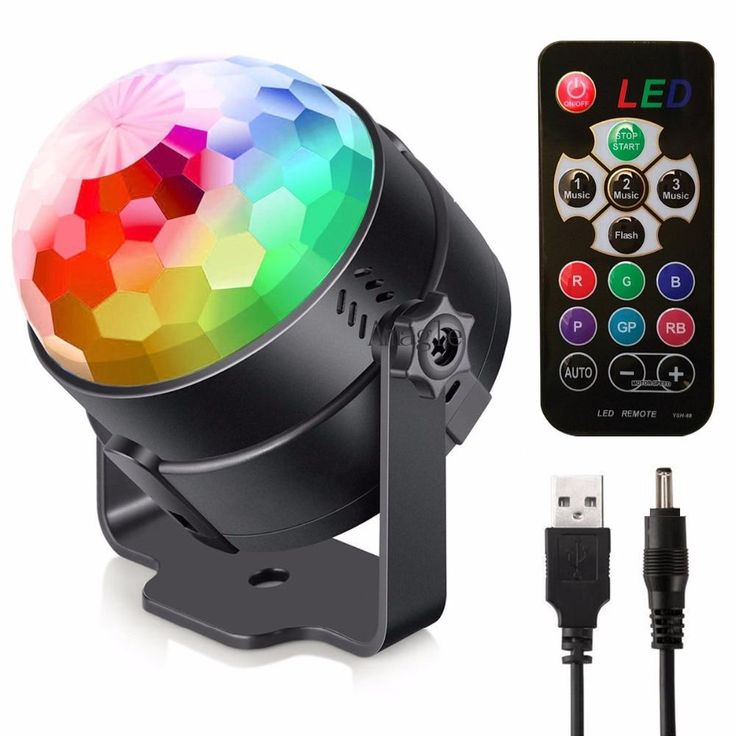 LED Stage Light USB Rechargeable Crystal Magic Ball Mini RGB Stage Lighting Effe…