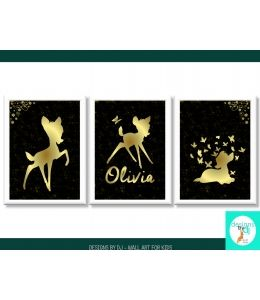 BAMBI WALL ART PRINTS BLACK & GOLD FOIL LOOK SET OF 3, PERSONALISED, NAME PRINT, GIRLS NURSERY WALL ART