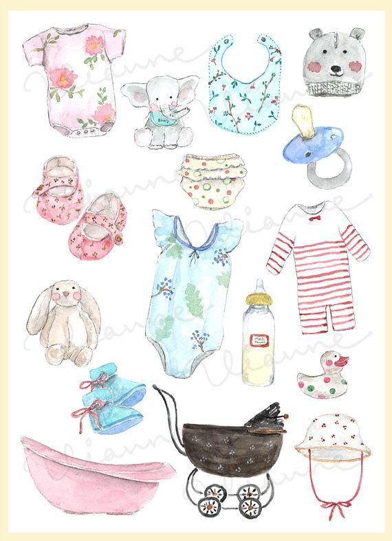 Clip Art Watercolor Vintage Baby Shower Set 16 Images