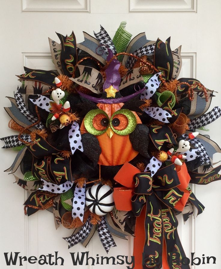 fall halloween deco mesh owl wreath in black orange green owl wreath - Halloween Deco