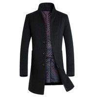 Wish | Winter wool coat men long sections thick woolen coats Mens Casual Fashion Jacket casaco masculino palto peacoat overcoat