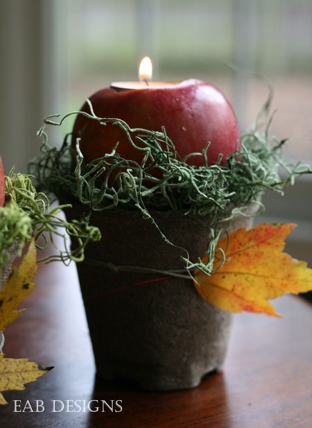 Fall table, apple votives.  For tutorial, visit http://eabdesigns.typepad.com/my_weblog/2012/10/apple-votives-fall-centerpiece.html