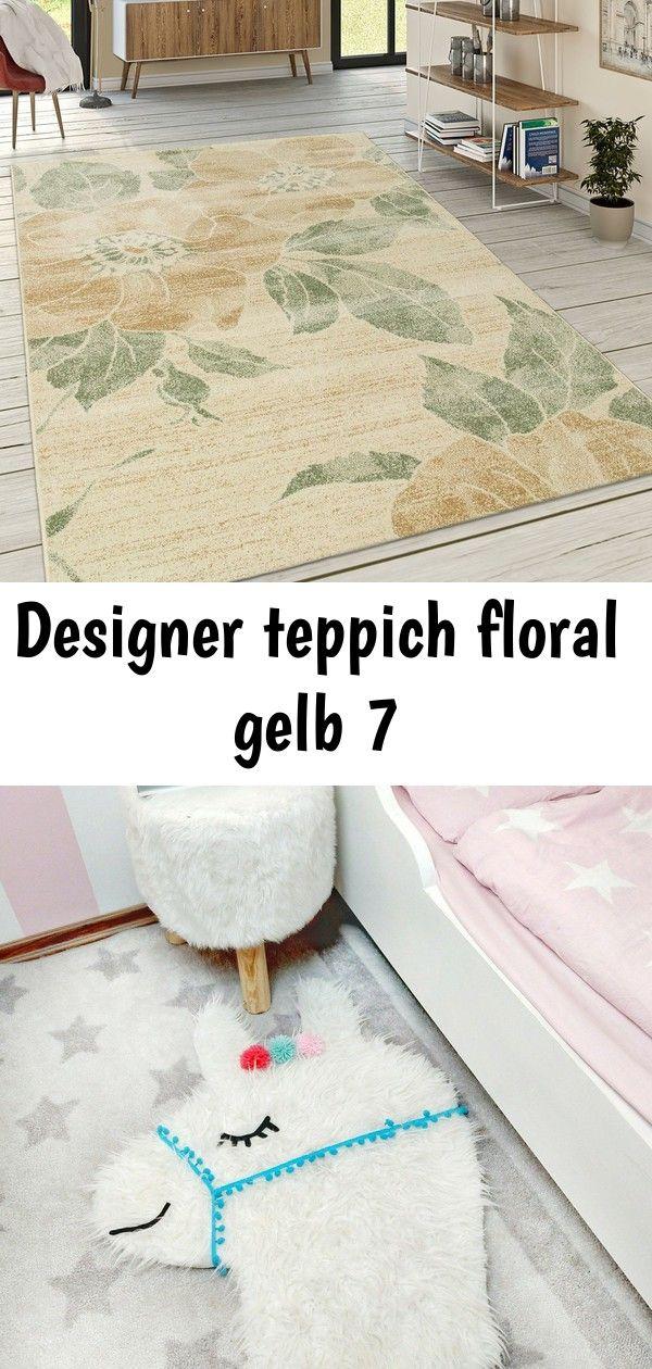 Designer Teppich Wohnzimmer Kurzflor Modern Florales Muster Pastellfarben Gelb Teppiche Kurzflor Teppiche Lama Teppich Selber Machen Einfach Living Room Carpet