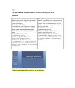 Chapter Five of your textbook provides tables of various assistive technology solutions for reading, spelling, writing, and mathematics.  Select two different ATs from one of the lists, and choose one of the following assignment options.  Option… (More)