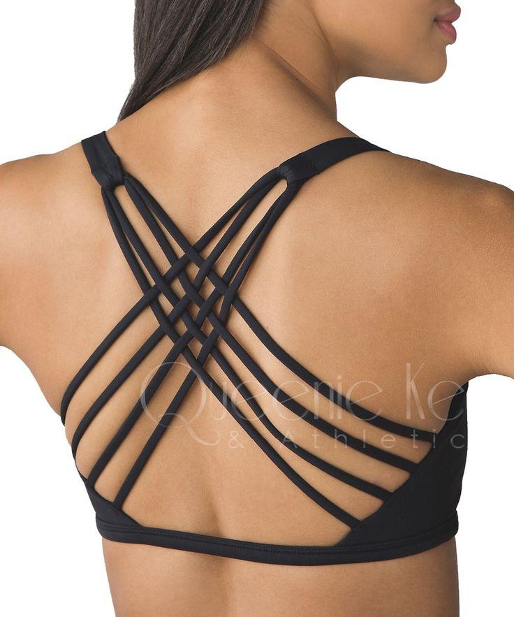 Qk criss cross hitam yoga bra padded push up wanita gym activewear top cahaya dukungan wirefree cool-lihat kebugaran olahraga bra