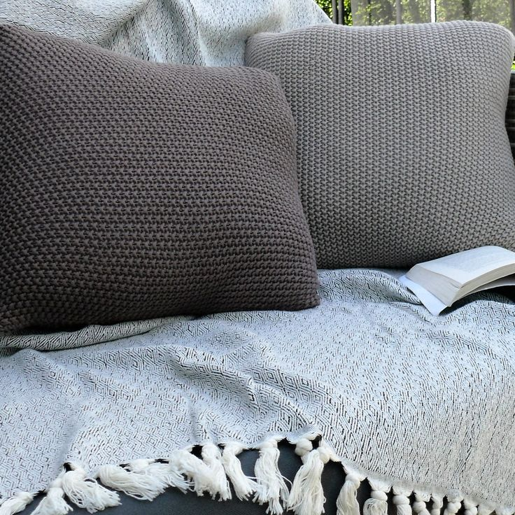 Handmade Moss Stitch Cushion Covers and Handwoven Organic Cotton Turkish Throw