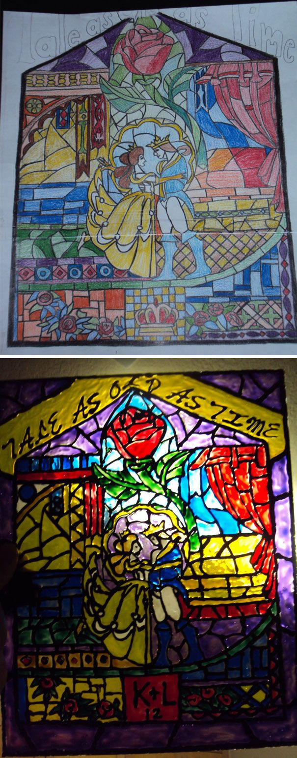 """I Decided To Make My Wife A Surprise Gift For Her To Receive At Our Wedding. She Loves Beauty And The Beast So I Decided To Hand Draw A Picture Of The Window From The Movie And Make Her A """"Stained Glass Window"""" For Our Apartment"""