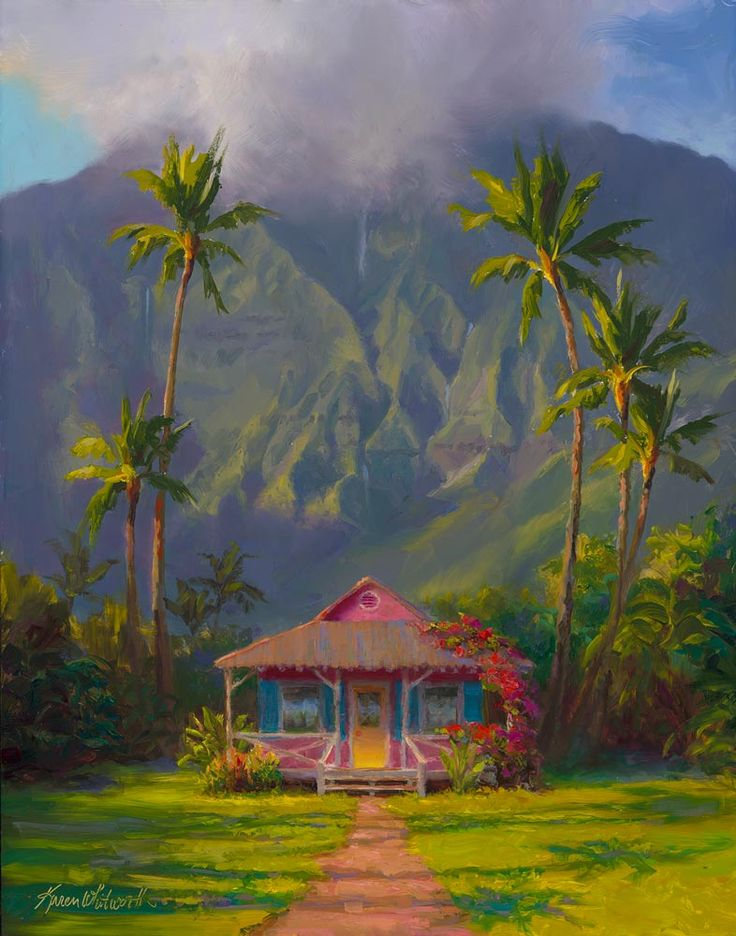 Grounded hanalei hawaii landscape painting canvas print