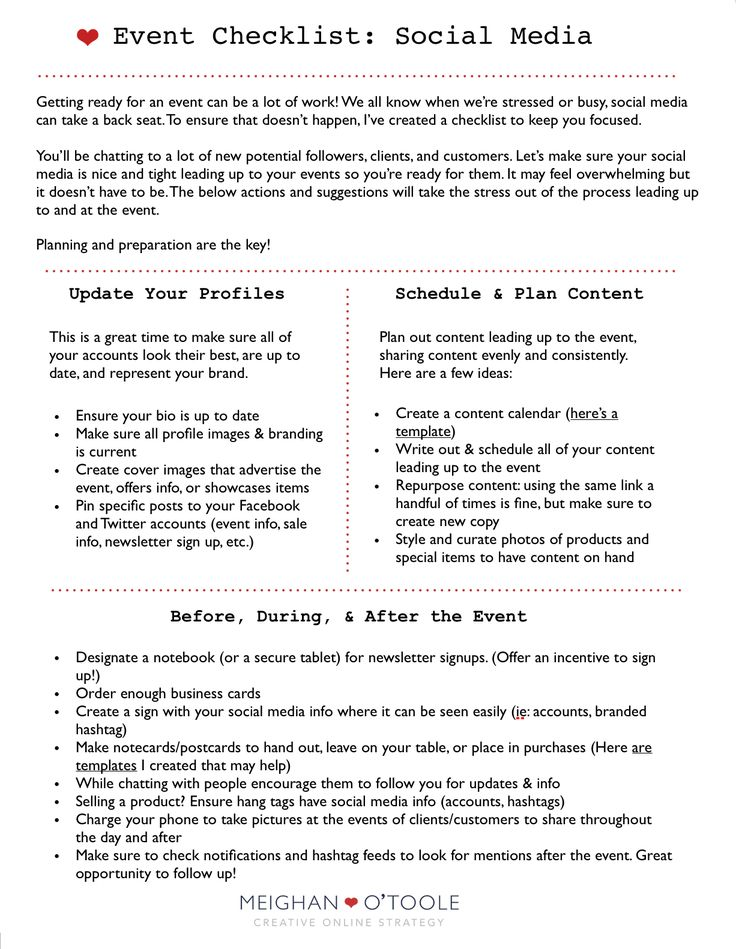 Often times when preparing for an important event it's super easy to get overwhelmed with all that needs to be done. With that in mind, I put together a free printable checklist to make sure you get your social media nice and tight leading up to and at your nextevent. You can view and download…